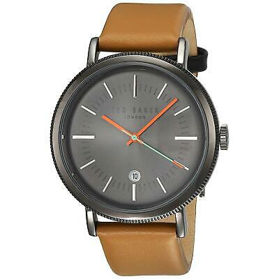 a66363a11f653 Ted Baker Men s Classic 42mm Leather Band Steel Case Quartz Watch TE50496001