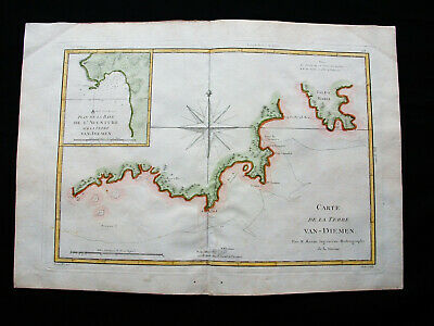 "1787 BONNE ""amazing map"" VAN DIEMEN'S LAND, TASMANIA, ADVENTURE BAY, BRUNY ISL."