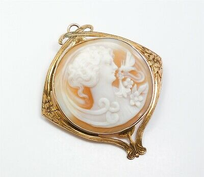 Antique Art Nouveau c1900 Carved Cameo Solid Gold Brooch Woman & Hummingbird