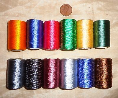 Sale 12 Small Spools Machine Embroidery Art Silk Rayon Thread 270 Yds H50 #025Q6
