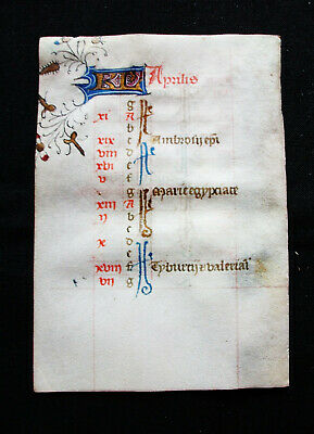 "1420 MEDIEVAL MANUSCRIPT on VELLUM, rare ""KALENDARIUM Leaf"" Book of Hours...K04"