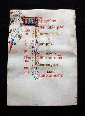 "1420 MEDIEVAL MANUSCRIPT on VELLUM, rare ""KALENDARIUM Leaf"" Book of Hours...K08"