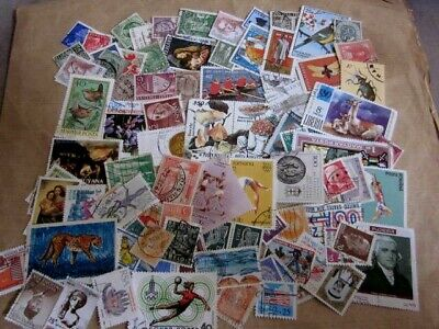 World wide collection.....100 used stamps off paper