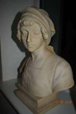 ANTIQUE FRENCH  CARVED MARBLE BUST RARE BEAUTIFUL  c1880