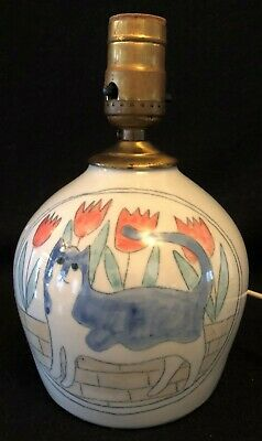 Vintage Solveig Cox Art Pottery Cat Lamp Signed