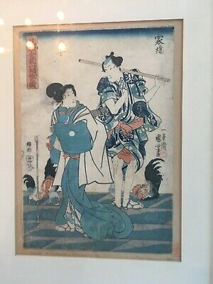 Kuniyoshi Utagawa, Two Mates cocks Original Japanese Woodblock Print 1849