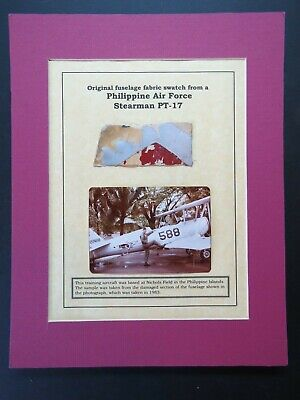 11X14 Matted Philippine Air Force Stearman PT-17 Fabric Swatch & Photo
