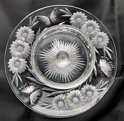 Pairpoint Butterfly Daisy Cheese Cracker Tray ABP American Brilliant Period Cut