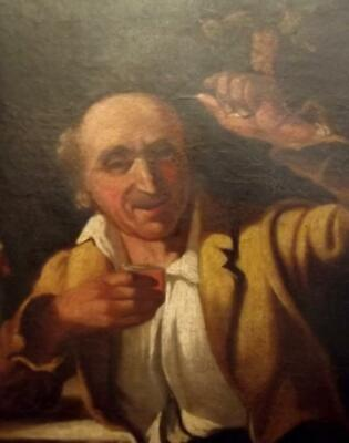 Antique Flemish 18th Century OLD MASTER Oil Painting THE WINE DRINKER