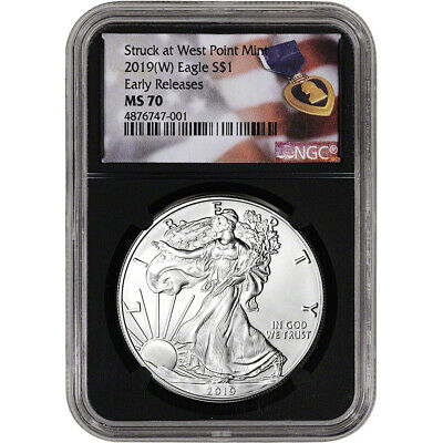 2019-(W) American Silver Eagle - NGC MS70 - Early Releases - Purple Heart Black