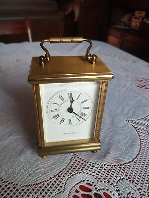 Vintage Jean Renet Carriage Mantle Clock Brass, Bevelled Glass. 1970s. Battery
