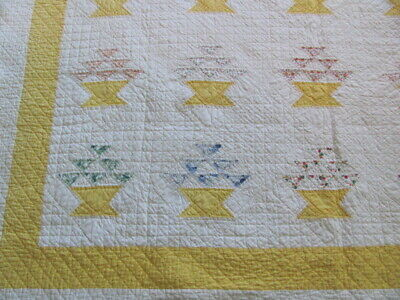 Antique cotton flower basket quilt heavily finely hand quilted 1930's prints