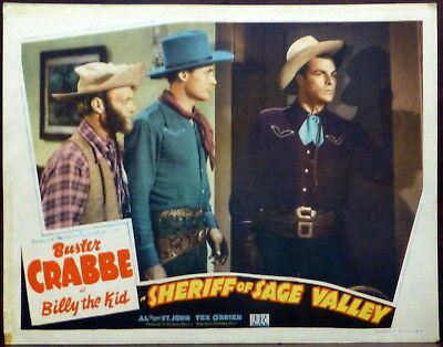Western Buster Crabbe comme Billy The Kid Original 1940s Lobby Carte Sage Valley