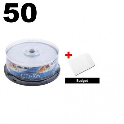 50 Philips CD-RW 4X-12X 80Min/700MB (Philips Logo on Top) & 100 Paper Sleeves