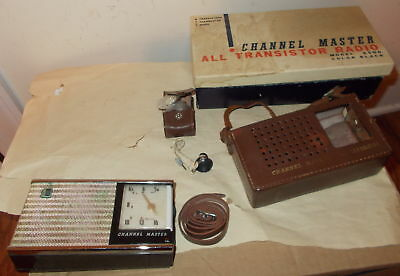 Vintage Channel Master All Transistor Radio Project-Box,case,earphone-Model 6506