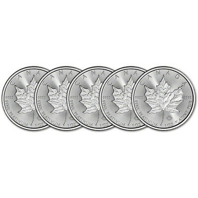 2019 Canada Platinum Maple Leaf 1 oz $50 - BU - Five 5 Coins