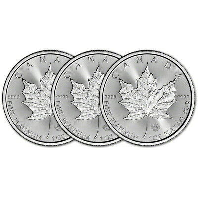 2019 Canada Platinum Maple Leaf 1 oz $50 - BU - Three 3 Coins