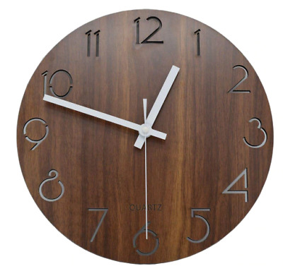 12 inch stained wood vintage wall clock numeric brown quartz Rustic Country