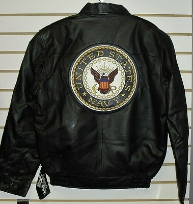 U.S. NAVY Leather Jacket sz Small /XS Black double sided $150 Armed Forces Coat