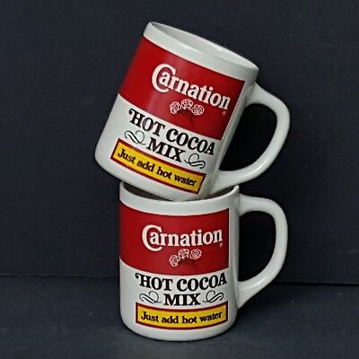 2 Carnation Hot Cocoa Mix Coffee Mugs Cups Ceramic Vintage