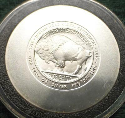 2013 Indian Head Buffalo Nickel Centennial 1 Troy Ounce .999 Fine Silver Round