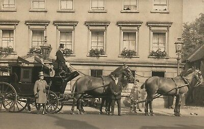Fancy Horse Drawn Carriage Street Scene Antique Real Photo Postcard Rppc