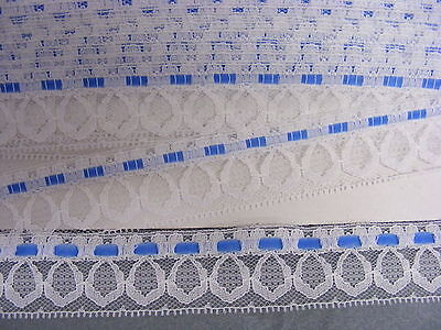 Flat White Lace with Blue Insertion 10 mts  (40729)(D)
