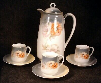Antique R S Prussia China Poppies Decorated Chocolate Pot with 3 Cups & Saucers