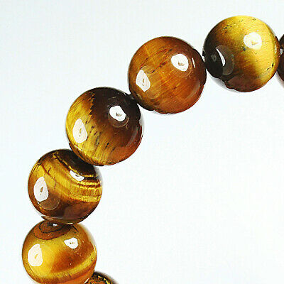216.2Ct 100% Natural African Tigereye Yellow Bead Bracelet BHY1318