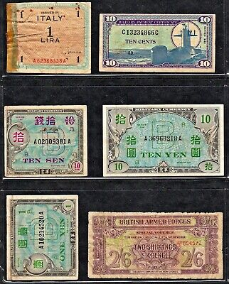 Small Lot Of Allied Currency/military Payment Certificate Notes (6 Pcs)