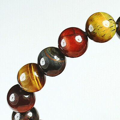 127Ct 100% Natural African Tigereye Colour  Bead Bracelet BHY1327