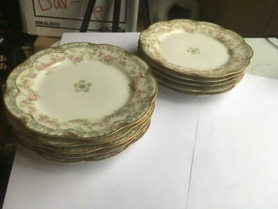 """Haviland Schleiger 271A Set Of 10 Bread And Butter Plates 6 1/8"""" Double Gold Rar"""