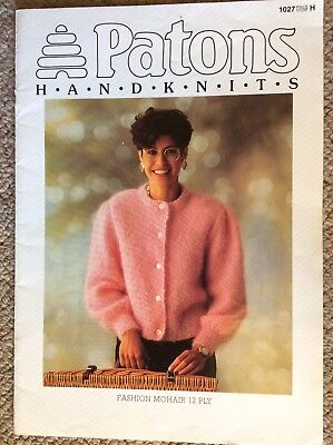 Vintage Patons Knitting Pattern Book 1027 Fashion Mohair 12 Ply Ladies