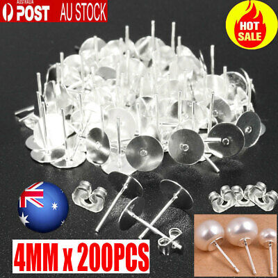 200PCS Earring Stud Posts 4mm Pads & Nut Backs Silvery Surgical Steel DIY New AU
