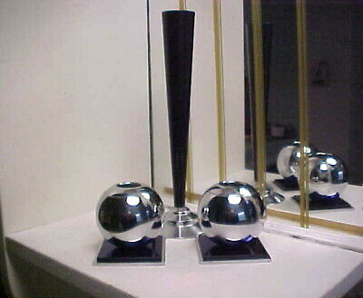 Art Deco 1930's Modernistic Chase Chrome Candle Holders w Skyscraper Vase - 3 pc