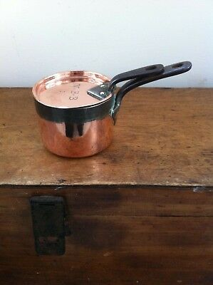 LOVELY SMALL DECORATIVE ANTIQUE COPPER SAUCE PAN & LID marked W.B.B 1 - 4 inches