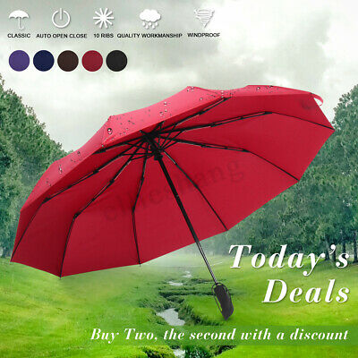 Portable 10 Folding Umbrella Compact Automatic Anti UV Rain Strong Windproof