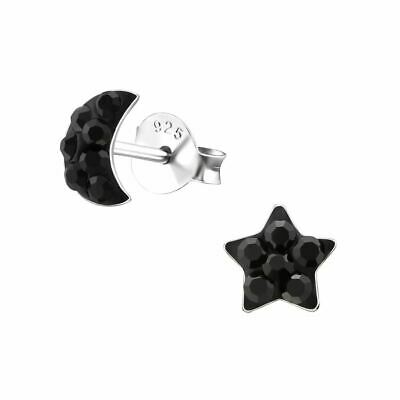 Children's Sterling Silver Moon and Star Crystal Stud Earrings