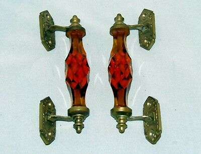 A Pair Of Vintage, Cut Amber Glass, And Gilded Brass Door Handles.