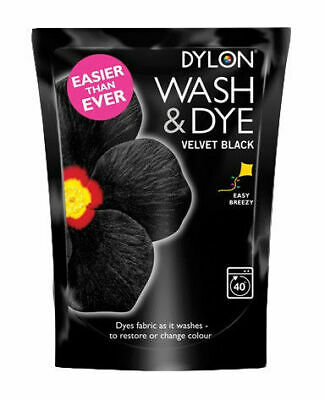 350G Velvet Black Dylon Machine Wash Colour Fabric Clothes T-Shirt Jeans Dye