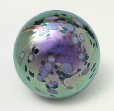 Signed Colin Heaney Iridescent Australian Studio Art Glass Paperweight Label