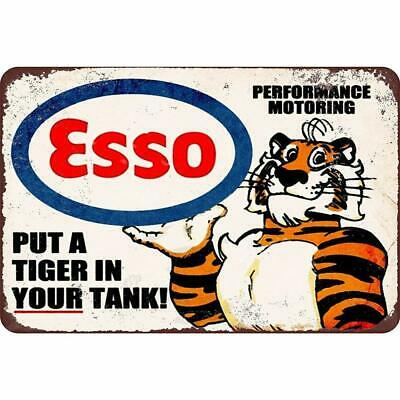 """Esso Put a Tiger in Your Tank Vintage Rustic Retro Tin Metal Sign 12"""" x 8"""""""