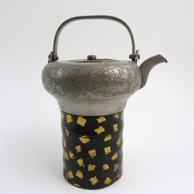 Japanese Pewter Sake Choshi On Gold & Black Lacquered Bamboo Stand, 19Th Century