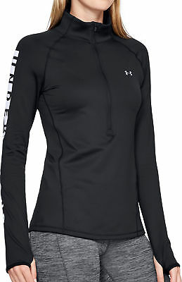 Under Armour ColdGear Graphic Womens Running Top Black Warm Half Zip Jersey