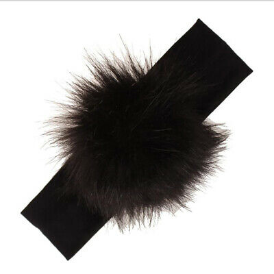 Kids Girls Faux Fur Headband Pompom Turban Headwear Head Wrap Headdress B