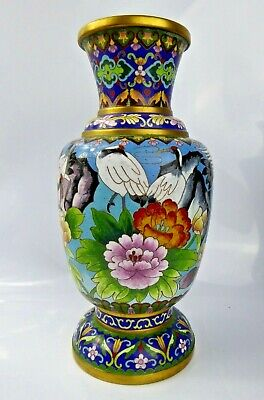 Chinese Large Cloisonne Vase Crane Bird Fine Decoration Gilt - Large c1950-60s