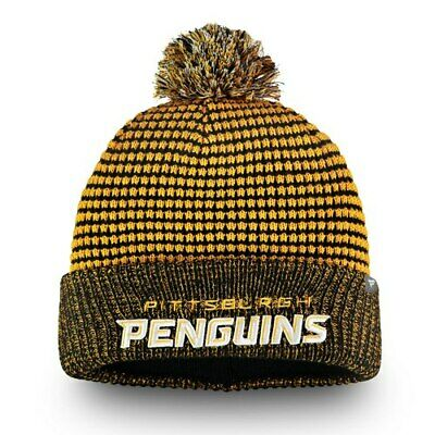 7df5ae5cc5d Pittsburgh Penguins Fanatics Branded Waffle Heavy Cuffed Knit Hat With Pom -