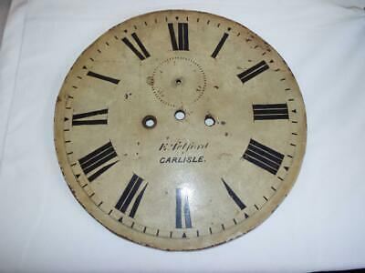 "Antique painted 14"" clock face E Telford Carlisle."