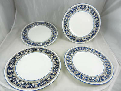 "Fabulous Gently Used WEDGWOOD Florentine Cobalt Blue 10 3/4"" Dinner Plates Set 4"