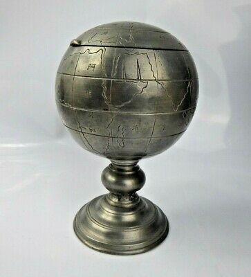 Chinese Swatow Pewter Globe Tea Caddy / Tobacco box by Shanton Yen Meishun 1940s